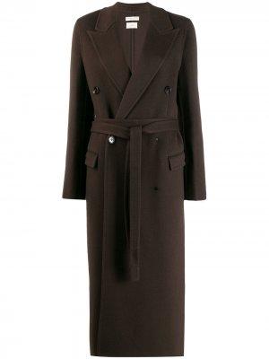 Двубортное пальто с поясом Bottega Veneta. Цвет: коричневый