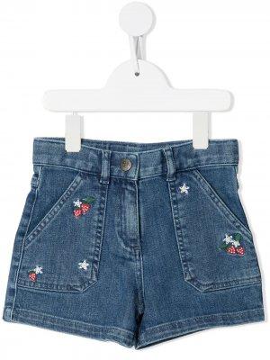 Джинсовые шорты с вышивкой Bonton. Цвет: синий