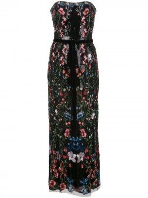 Длинное платье с цветочным узором и пайетками Marchesa Notte. Цвет: черный