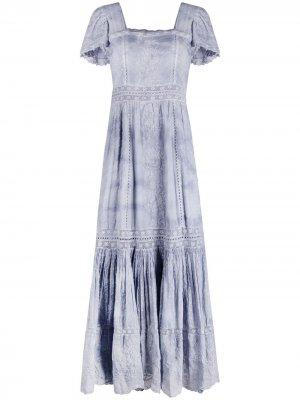 Платье макси Norma с вышивкой LoveShackFancy. Цвет: синий
