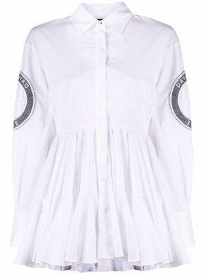 Рубашка с расклешенным подолом и нашивками David Koma. Цвет: белый