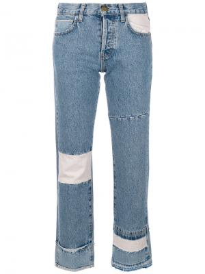 Укороченные джинсы в стиле печворк Current/Elliott. Цвет: синий