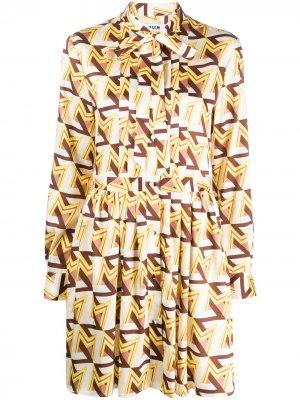 Платье-рубашка с бантом на воротнике MSGM. Цвет: желтый