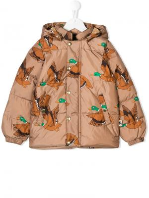 Ducks print puffer jacket Mini Rodini. Цвет: коричневый