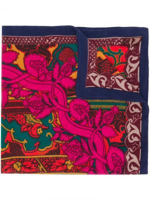 Шарф с цветочным принтом Louis Feraud Vintage. Цвет: синий