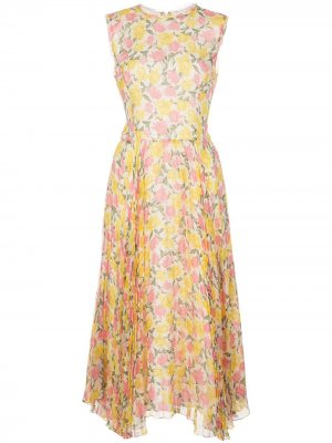 Платье с плиссировкой и цветочным принтом Jason Wu Collection. Цвет: белый