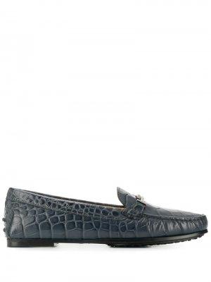 Tods лоферы с тиснением под кожу крокодила Tod's. Цвет: синий