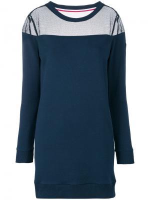 Короткое платье-толстовка Rossignol. Цвет: синий