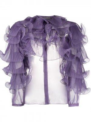 Блузка с оборками Alberta Ferretti. Цвет: фиолетовый