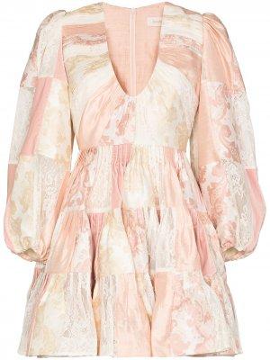 Ярусное платье мини в технике пэчворк Zimmermann. Цвет: розовый