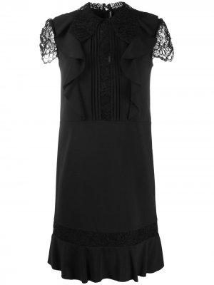 Платье с кружевными рукавами и складками Ermanno Scervino. Цвет: черный