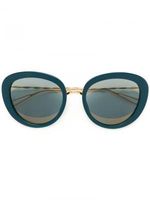 Солнцезащитные очки в объемной оправе Elie Saab. Цвет: синий