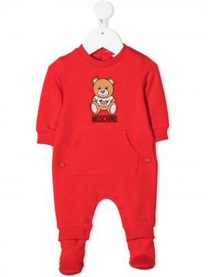 Пижама Teddy Bear в рубчик Moschino Kids. Цвет: красный