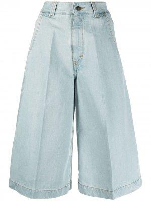 Джинсовые шорты со складками Société Anonyme. Цвет: синий