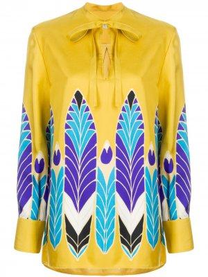 Блузка с принтом и бантом Valentino. Цвет: желтый