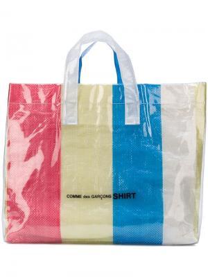 Большая сумка-тоут в полоску Comme Des Garçons Shirt. Цвет: розовый