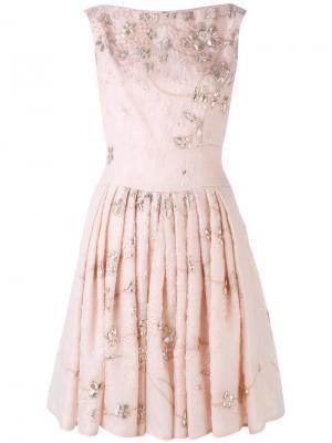 Плиссированное платье с цветочным принтом Talbot Runhof. Цвет: розовый