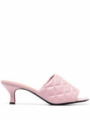 Стеганые босоножки с квадратным носком Via Roma 15. Цвет: розовый