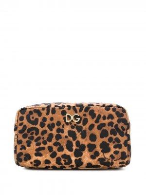 Косметичка с леопардовым принтом Dolce & Gabbana. Цвет: коричневый