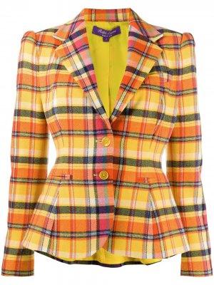 Блейзер строгого кроя в клетку Ralph Lauren Collection. Цвет: оранжевый