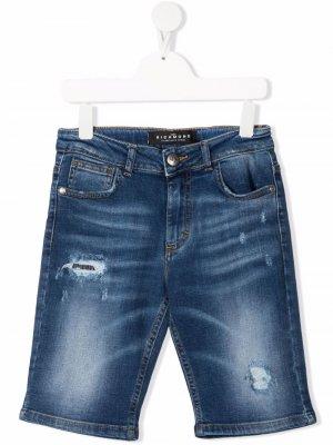 Джинсовые шорты с эффектом потертости John Richmond Junior. Цвет: синий