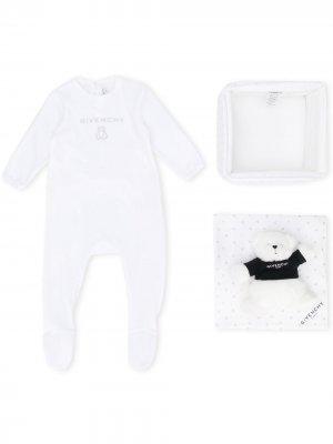 Комплект из комбинезона и мягкой игрушки Givenchy Kids. Цвет: белый