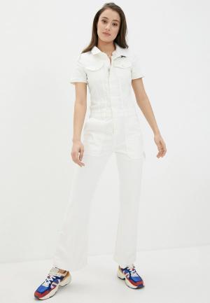 Комбинезон джинсовый United Colors of Benetton. Цвет: белый