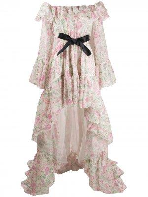 Платье с оборками и цветочным принтом Giambattista Valli. Цвет: белый