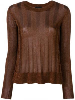 Striped long-sleeve sweater Roberto Collina. Цвет: коричневый