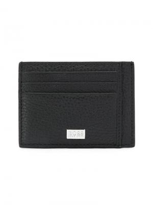 Pebble leather card holder BOSS. Цвет: черный