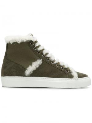 Shearling high-top sneakers Yves Salomon Accessories. Цвет: зеленый
