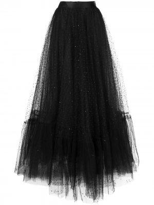 Платье с прозрачной юбкой Marchesa. Цвет: черный