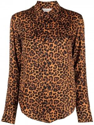 Рубашка с леопардовым принтом Laneus. Цвет: оранжевый
