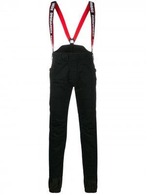 Лыжные брюки с подтяжками и логотипом Dsquared2. Цвет: черный