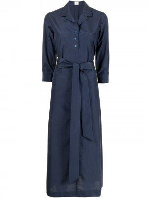 Платье-рубашка миди с поясом Colombo. Цвет: синий