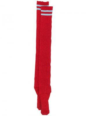 Носки с металлическим отблеском Alberta Ferretti. Цвет: красный