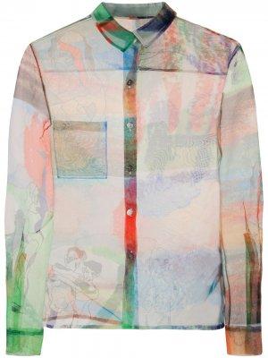 Полупрозрачная рубашка с принтом Quetsche. Цвет: зеленый