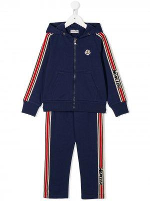 Спортивный костюм с контрастными полосками Moncler Enfant. Цвет: синий