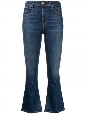 Укороченные джинсы с завышенной талией Citizens of Humanity. Цвет: синий