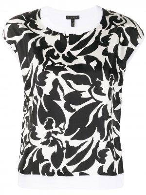 Блузка с цветочным принтом и рукавами кап Escada. Цвет: белый