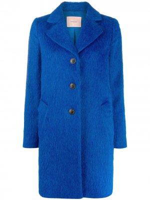 Однобортное пальто миди Twin-Set. Цвет: синий