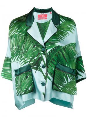Пижамный топ с принтом листьев пальмы F.R.S For Restless Sleepers. Цвет: синий