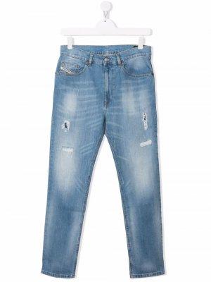 Прямые джинсы средней посадки Diesel Kids. Цвет: синий