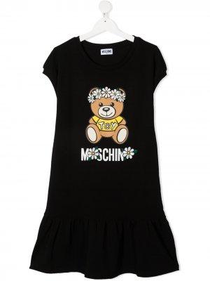 Платье-футболка с логотипом Moschino Kids. Цвет: черный