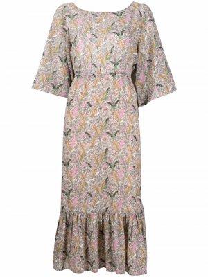 Платье Jami с оборками и цветочным принтом Ba&Sh. Цвет: нейтральные цвета