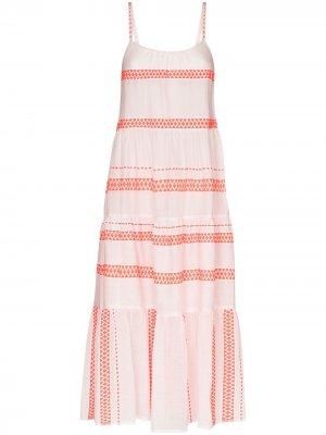 Платье макси Jemari с вышивкой lemlem. Цвет: оранжевый
