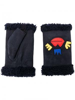 Перчатки без пальцев с вышитыми деталями Agnelle. Цвет: синий