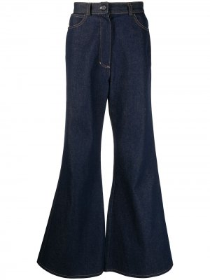 Расклешенные джинсы с вышивкой DUOltd. Цвет: синий
