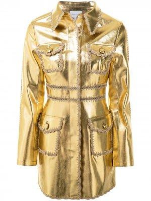 Куртка с эффектом металлик и фестонами Alice McCall. Цвет: золотистый