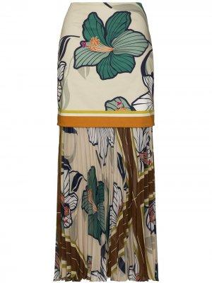 Многослойная юбка макси с цветочным принтом Silvia Tcherassi. Цвет: нейтральные цвета